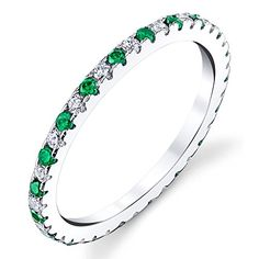 Solid 925 Sterling Silver Stackable 0.50 Carat TW Ring Micro Pave Wedding Band Eternity Cubic Zirconia Green Emerald and White Diamond CZ Minxwinx http://www.amazon.com/dp/B01C4V0LUG/ref=cm_sw_r_pi_dp_Eyt0wb1DMGEC9