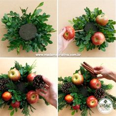 Christmas table setting with candles, fruits, flowers and cinnamon - Party centerpiece - Footsteps PAP - DIY Christmas Centerpiece with fruits and cinnamon Christmas Flower Arrangements, Christmas Table Centerpieces, Christmas Flowers, Edible Arrangements, Flower Centerpieces, Christmas Wreaths, Christmas Crafts, Christmas Decorations, Christmas Tables