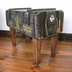 South African artist and designer Katie Thompson transformed this ammo box into a side table.