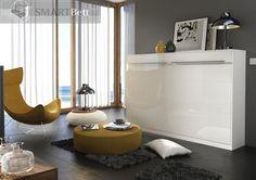SMARTBETT Schrankbett Foldaway Bed 140x200cm Horizontal Weiß mit Hochglanzfront   eBay
