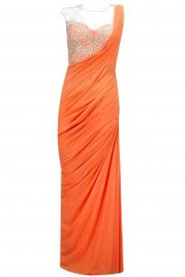 Tangerine embroidered pre-stitched sari-gown
