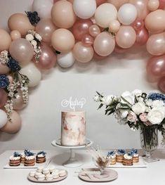 52 New ideas for birthday cake baby blue party ideas Balloon Arch, Balloon Garland, Balloon Decorations, Birthday Decorations, 18th Birthday Party, Cake Birthday, Birthday Ideas, Elegant Birthday Party, Birthday Balloons