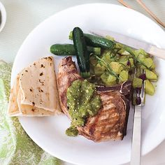 Grilled Pork Chops with Tomatillo Salsa | Epicurious.com