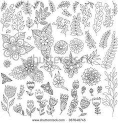 Doodle flower set. Doodle floral collection.                                                                                                                                                     More
