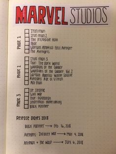 Universe Checklist for Bullet Journal 2018 . - - movies to watch -Marvel Universe Checklist for Bullet Journal 2018 . - - movies to watch - My MCU tracker in my bullet journal Journaling Hacks . Bullet Journal 2018, Bullet Journal Ideas Pages, My Journal, Bullet Journal Inspiration, Journal Pages, Bullet Journal Netflix, Bullet Journal Tv Series, Bullet Journal Homework, Bullet Journal For School