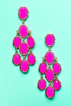 Hot Pink Earrings Patina Dangle Neon Bright Spring Jewelry Filigree Fuchsia Long Bohemian