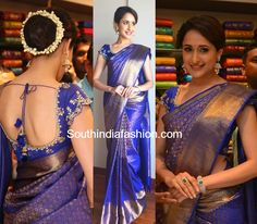 Pragya Jaiswal in a Kanchipuram Saree at Kalamandir Store Launch – South India Fashion Wedding Saree Blouse Designs, Pattu Saree Blouse Designs, Saris Indios, Indian Bridal Sarees, Wedding Sarees, Kanchipuram Saree Wedding, Wedding Saree Collection, Saree Look, Bandeau Outfit