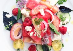 Watermelon And White Peach Salad With Chèvre