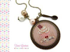 Collier sautoir cabochon - Love cupcake - bronze rose marron beige perle breloque cuillere verre gateau chocolat : Collier par tinais-creations