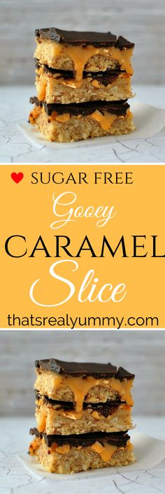 Gooey & decadent, but it's refined sugar free and gluten free Sugar Free Baking, Sugar Free Treats, Sugar Free Recipes, Healthy Treats, Healthy Recipes, Free Food, Caramel, Gluten Free, Cooking Recipes