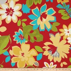 Amazon.com: Tempo Indoor/Outdoor Floral Red/Turquoise Fabric By The YD: Fabric.com