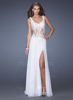 $119.00 - A-Line/Princess Sweetheart Floor-Length Chiffon Evening Dress With Appliques Lace Split Front (0056072) #moonprom#