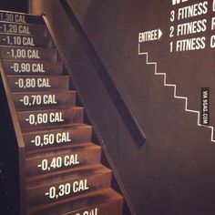 Most motivating stairs ever - Einrichtungsideen Signage Design, Cafe Design, Web Design, Sport Studio, Painted Staircases, Gym Interior, Home Gym Design, Gym Decor, Gym Room