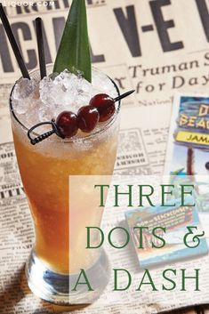 Three Dots and a Dash is the ultimate tiki cocktail. It can make you feel like you're at a luau even in the middle of winter. This cocktail features citrus, honey and, of course, lots of rum. New Years Cocktails, Festive Cocktails, Craft Cocktails, Party Drinks, Fun Drinks, Rum Recipes, Cocktail Recipes, Dash Recipe, Tiki Cocktail