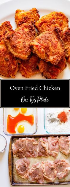 Prepare yourself for a wonderful treat with this crispy oven-fried chicken thighs recipe. Enjoy perPrepare yourself for a wonderful treat with this crispy oven-fried chicken thighs recipe. Enjoy perfectly crisp southern fried chicken with less effort. Fried Chicken Thigh Recipes, Oven Fried Chicken Thighs, Baked Chicken Cutlets, Easy Oven Baked Chicken, Crispy Oven Fried Chicken, Chicken Tights Recipes, Recipes With Chicken Thighs, Crispy Chicken Recipes, Healthy Chicken