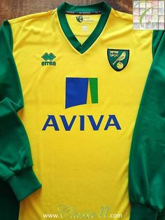 Relive Norwich City's season with this original Errea home long sleeve football shirt. Football Uniforms, Football Jerseys, Norwich City Football, Premier League Table, Retro Football, Fulham, The Championship, Fa Cup, Manchester United