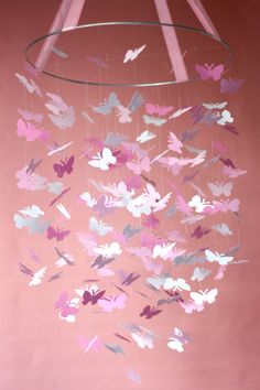 Pink Daydream Butterfly Mobile by littledreamersinc on Etsy, $68.00    I am doing this on a rainy day and in purple. Why? THAT IS TOO EXPENSIVE.