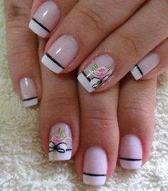The flowers add a nice touch French Tip Nail Designs, French Tip Nails, Nail Art Designs, Spring Nails, Summer Nails, Pretty Nail Art, Flower Nails, Easy Nail Art, Nail Arts