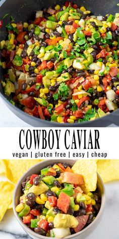 This Cowboy Caviar comes together in around 10 minutes and is made with black beans, corn, tomatoes, cilantro, bell pepper. All covered in a tasty homemade sauce. Great with tortilla chips and a family favorite with big flavor. #vegan #dairyfree #vegetarian #dinner #lunch #mealprep #budgetmeals #cowboycaviar #texascaviar #contentednesscooking Best Vegan Recipes, Bean Recipes, Free Recipes, Eating Vegan, Vegan Food, Healthy Dinners, Vegan Dinners, Dairy Free Diet, Gluten Free