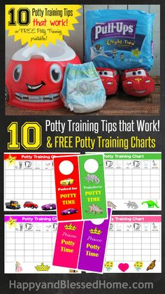 10 Potty Training Tips that Work and FREE Potty Training Charts from HappyandBlessedHome.com - includes activities and a reward game you can play to teach toddlers how to use the bathroom. | toilet training | preschooler | toddler | bathroom habits