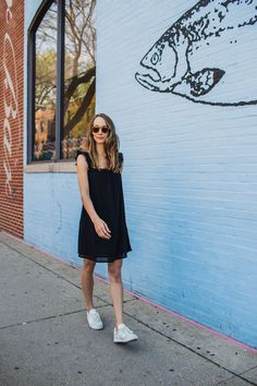 how to style a dress with sneakers