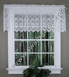Emily Is An Elegant Sheer Voile Valance With A Scallop Faux Macrame Band On  The Bottom