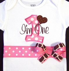 First Birthday Girl Bodysuit Pink and Brown Giraffe by whimsytots, $31.50
