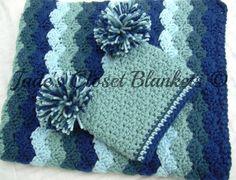 Baby Boy Gift Set Crochet Blue Baby Crib by JadesClosetBlankets
