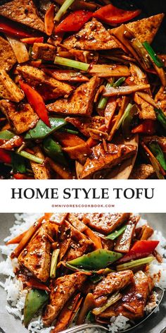 If you aren't a tofu lover already, you will be after you try this home style tofu. It has a tender texture and crispy crust along with a savory, lightly spicy sauce and crunchy veggies. {Vegan} Tofu Recipes, Vegetarian Recipes Easy, Lunch Recipes, Cookbook Recipes, Asian Recipes, Dinner Recipes, Chinese Recipes, Yummy Recipes, Recipes