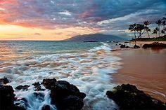 Гавайи, заход солнца, закат, Тихий океан, пляж, берег, пляж, море, отмель