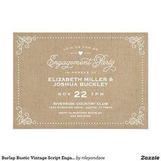 Burlap Rustic Vintage Script Engagement Party Card