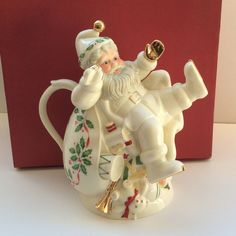 Lenox For The Holidays Holiday Santa Teapot Gold Trimmed Christmas Ceramic MIB #Lenox