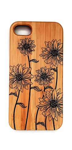 Field of Sunflowers bamboo wood case for iPhonr models 6 though XS Max.