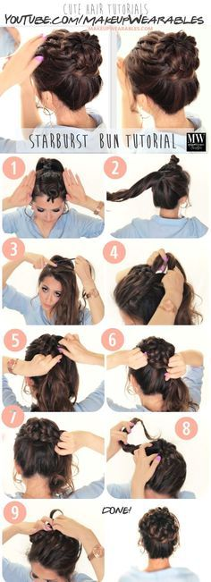 Hair tutorials how to braided messy bun hairstyles Popular Starburst Braided Bun Hairstyle | Hair Tutorial Video