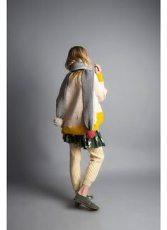 Kid Knitted Legging + Jumping Rabbit Sweatshirt + Flared Skirt + Knitted Scarf - Bobo Choses