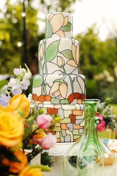 Nouveau Wedding Cake - LOVE this cake. garden ideas, wedding trends, hand painted cakes, wedding cakes, art deco, cake art, art nouveau, stained glass, sweet cakes