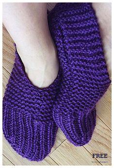 Easy Knit Rib Slippers Free Knitting Patterns - Knitting Pattern Knitting Wool, Easy Knitting, Double Knitting, Knitting Socks, Knitting Patterns Free, Knitting Stiches, Knit Socks, Knit Patterns, Knit Slippers Free Pattern