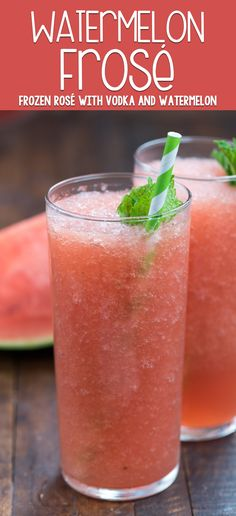 Watermelon Frosé is the perfect frozen cocktail for summer! Frozen rosé wine is mixed with watermelon and vodka for a refreshing blended cocktail! via @easygoodideas