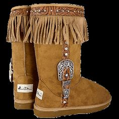 SO  awesome :) MONTANA WEST BROWN BUCKLE SUEDE FRINGE BOOTS