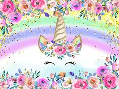 Unicornios Wallpaper, Happy Wallpaper, Unicorn Themed Birthday Party, Unicorn Birthday Invitations, Birthday Cake, Watercolor Unicorn, Unicorn Art, Calligraphy Birthday Card, Christening Invitations Girl
