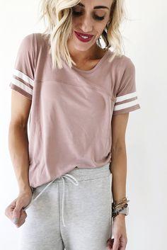 Mauve T Shirt with Varsity Stripe | ROOLEE