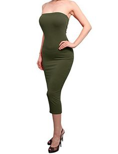 New Trending Formal Dresses: REVENINE Solid Sexy Comfortable Tube Top Bodycon Midi Dress Small Olive. REVENINE Solid Sexy Comfortable Tube Top Bodycon Midi Dress Small Olive   Special Offer: $8.99      377 Reviews 92%Polyester, 8%Spandex / Hand Wash Cold, Do not BleachCute and Sexy bodycon DressMidi Tube DressPLEASE REFER TO THE SIZE CHART BELOW TO ENSURE YOUR ORDERColor disclaimer: Due to...