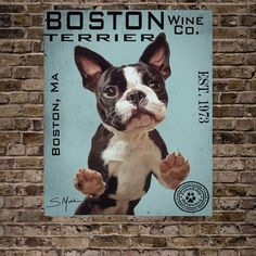 Boston Terrier Wine Co. by BarkArtPortraits on Etsy https://www.etsy.com/listing/150668895/boston-terrier-wine-co