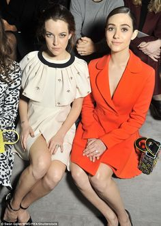 Actresses assemble: Riley Keough joined fellow screen star Emmy on the star-studded front row