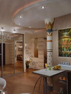egyptian design for wall decoration in the kitchen interior