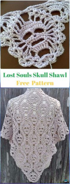 Crochet Lost Souls Skull Shawl Free Pattern - Crochet Skull Ideas Free Patterns by Theresa Young Poncho Au Crochet, Pull Crochet, Crochet Shawls And Wraps, Crochet Scarves, Crochet Clothes, Crochet Stitches, Free Crochet, Knitting Scarves, Crochet Fox