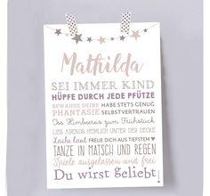 """Bilder - Typoposter """"Kindheit"""" DIN A 4 - rosa  - ein Designerstück von Louise-Wiese bei DaWanda"""