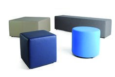 hitch mylius | hm51a cube + hm51d square bench upholstered in leather with hm51b drumstool + hm51c long bench