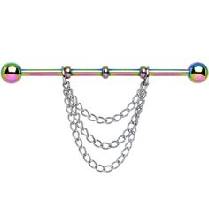 Handcrafted Rainbow Titanium Chain Dangle Industrial Barbell
