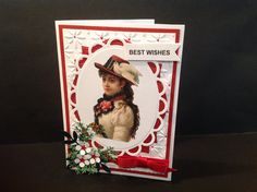 Handmade card, Designs by Judy Talley, vintage look, Best Wishes. Could be used as a Christmas or birthday card.